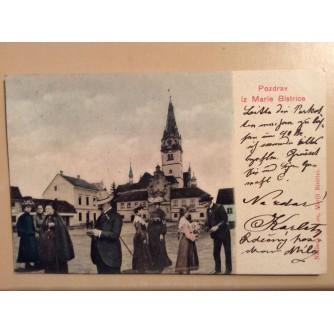 MARIJA BISTRICA STARA RAZGLEDNICA CRKVA OKOLICA GOSPODA I GOSPOĐE POZDRAV IZ MARIE BISTRICE MONTAŽA 1904.