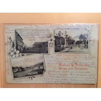 DARUVAR STARA RAZGLEDNICA DUGA ULICA STUP SV. TROJICE NA TRGU FRANJE JOSIPA PRKOS PRIJE 1904.