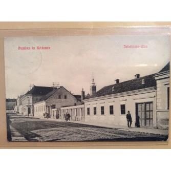 KRIŽEVCI STARA RAZGLEDNICA JELAČIĆEVA ULICA 1908.