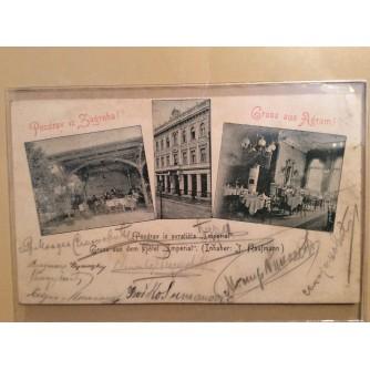 """ZAGREB STARA RAZGLEDNICA POZDRAV IZ SVRATIŠTA HOTELA """"IMPERIAL"""" 1899."""