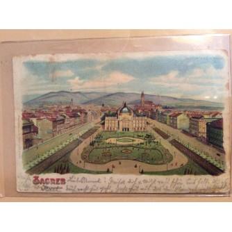 ZAGREB STARA RAZGLEDNICA TRG FRANJE JOSIPA 1899.