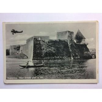 HRVATSKA KOSTAJNICA STARA RAZGLEDNICA PANORAMA PRELET AVIONA KAJAK UTVRDA ZIDINE KULA 1941.