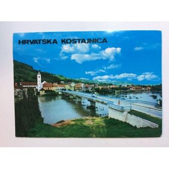 HRVATSKA KOSTAJNICA STARA RAZGLEDNICA MOST I OKRUŽENJE 1974.