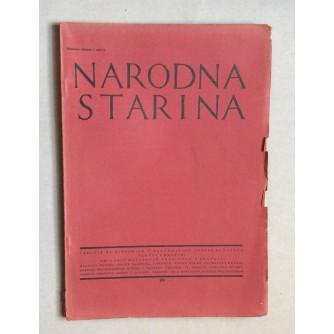 JOSIP MATASOVIĆ, NARODNA STARINA, ČASOPIS ZA HISTORIJU I ETNOGRAFIJU JUŽNIH SLOVJENA, BROJ 29, ZAGREB, 1932.