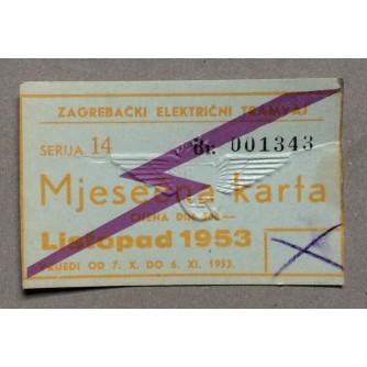ZAGREBAČKI ELEKTRIČNI TRAMVAJ, MJESEČNA KARTA ZA LISTOPAD 1953.