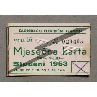 ZAGREBAČKI ELEKTRIČNI TRAMVAJ, MJESEČNA KARTA ZA STUDENI 1953.