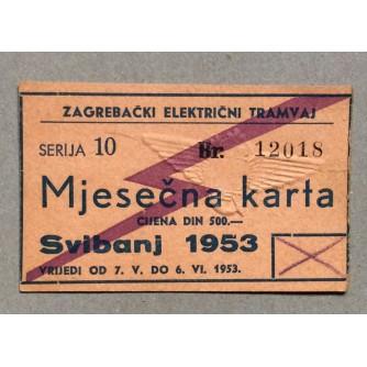 ZAGREBAČKI ELEKTRIČNI TRAMVAJ, MJESEČNA KARTA ZA SVIBANJ 1953.