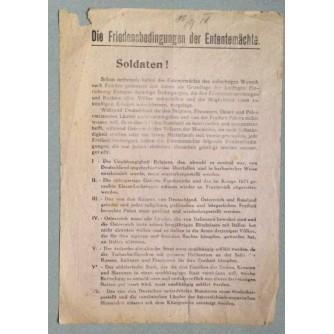 DIE FRIEDENSBEDINGUNGEN DER ENTENTEMACHTE, SOLDATEN, LETAK, PRVI SVJETSKI RAT, NJEMAČKA, 1918.