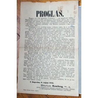 PROGLAS, BARUN RAMBERG, ZAGREB, 1883.
