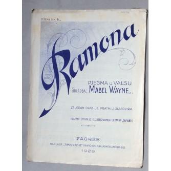 MABEL WAYNE RAMONA, , VALCER, NOTE, ZAGREB, 1929.