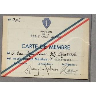 MARKO RISTIĆ, KNJIŽEVNIK, ISKAZNICA, MAISON DE LA RESISTANCE ALLEIEE, CARTE DE MEMBRE, 1947.
