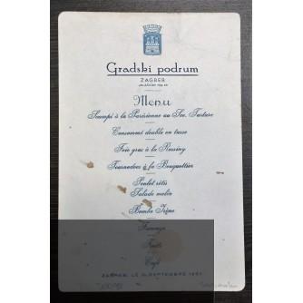 JELOVNIK - GRADSKI PODRUM ZAGREB, 1935.