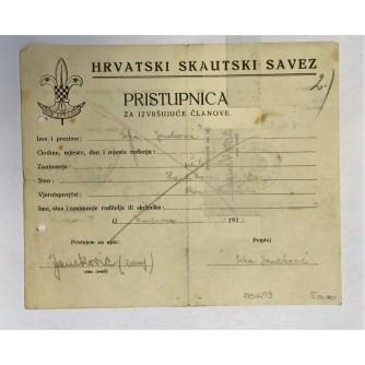 HRVATSKI SKAUTSKI SAVEZ - PRISTUPNICA ZA IZVRŠUJUĆE ČLANOVE, KARLOVAC 1926.