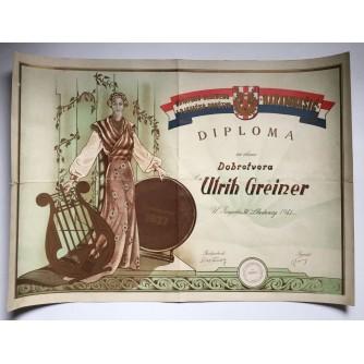 """STARA DIPLOMA HRVATSKO GLAZBENO I PJEVAČKO DRUŠTVO """"HARAMBAŠIĆ""""  1941 ZAGREB"""
