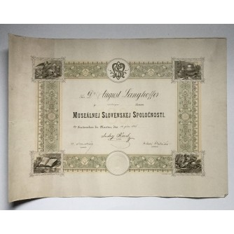 STARA DIPLOMA  SLOVAČKA POVIJESNI MUZEJ  1898