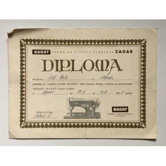 STARA DIPLOMA ZADAR BAGAT TVORNICA ŠIVAĆIH STROJEVA 1968